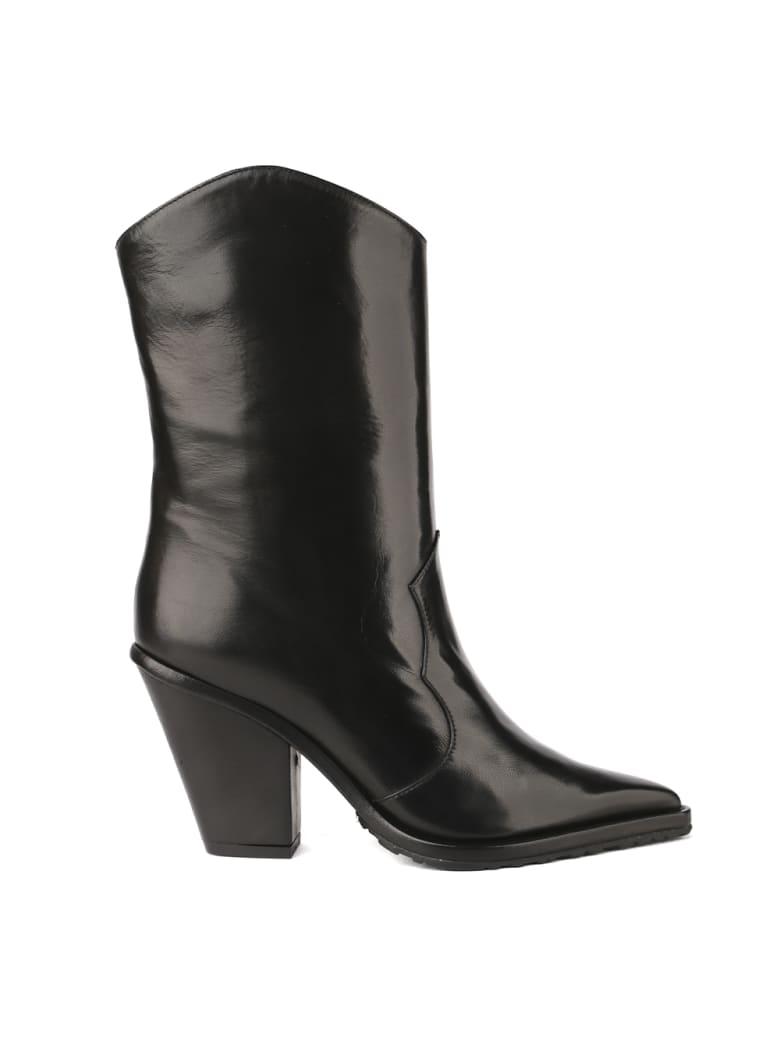 Aldo Castagna Black Leather Texan Boots - Black