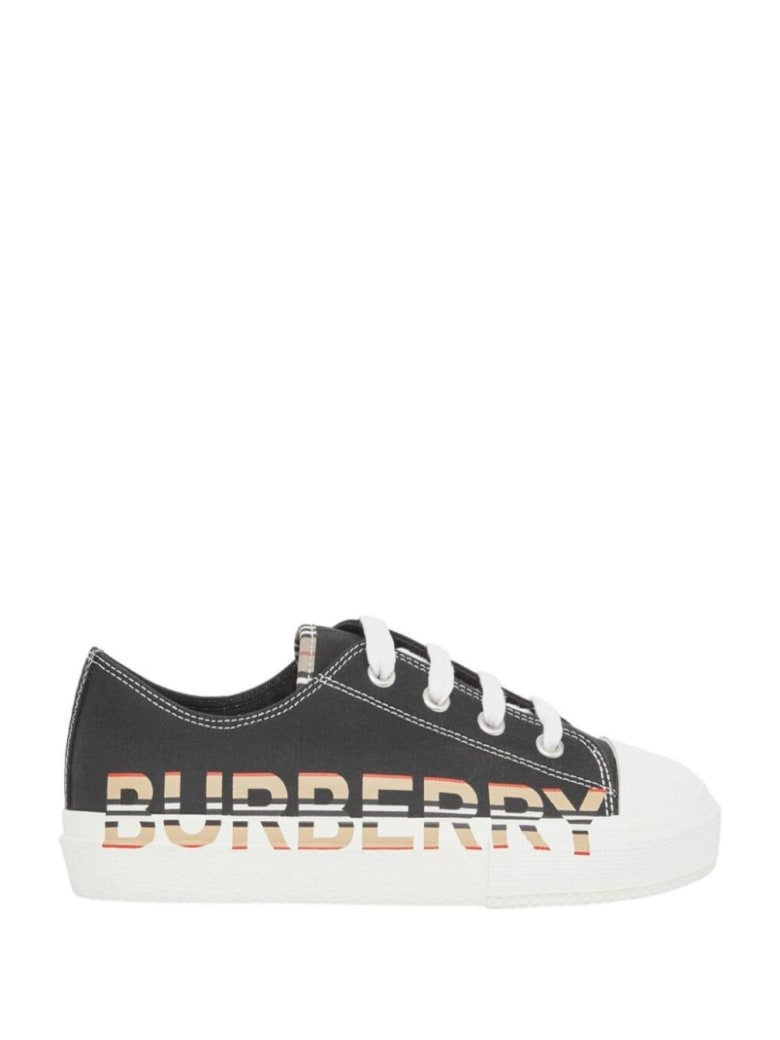 Burberry Larkhall Cotton Sneakers With Logo Print - Black