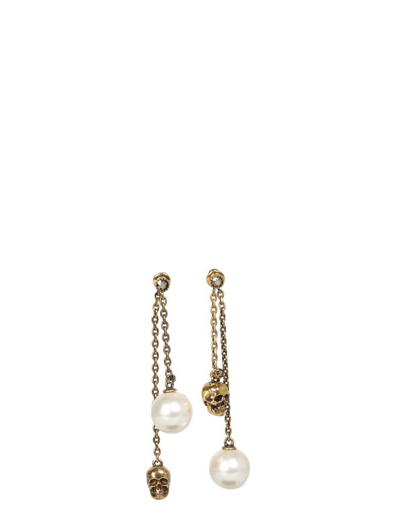 Alexander McQueen Skull And Pearl Pendant Earrings - MULTICOLOR