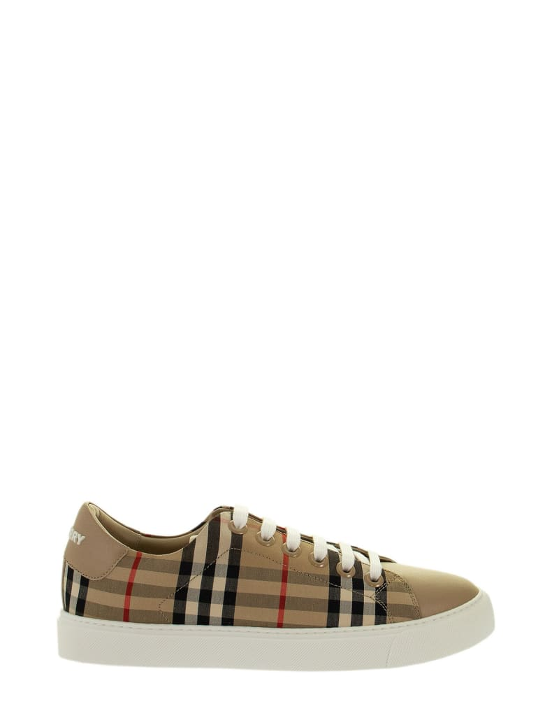 Burberry Albridge L - Trainer With Vintage Check Pattern And Leather Inserts - Archive Beige