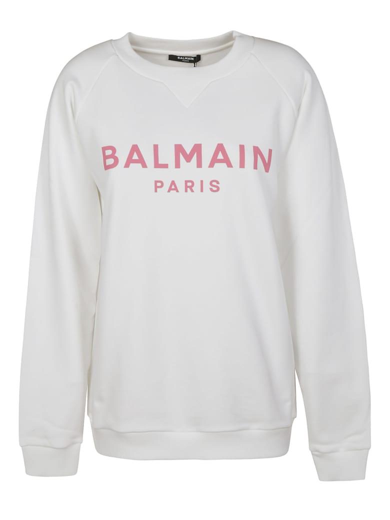 Balmain Oversized Logo Sweatshirt - White/Pink
