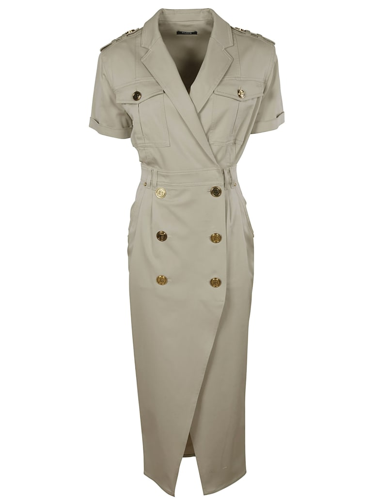 Balmain Double-breasted Belted Dress - Beige