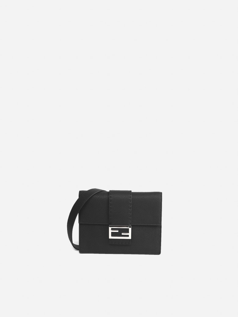 Fendi Flat Baguette Black Leather Bag - Black