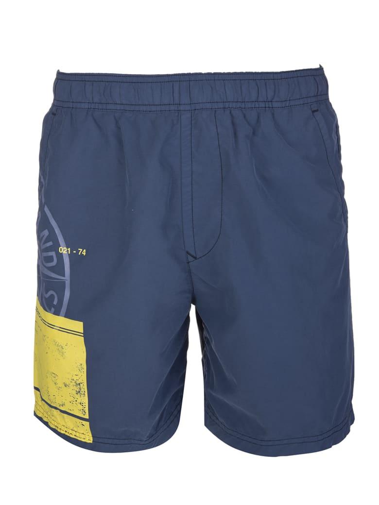 Stone Island Navy Blue Block Swim Shorts Man - Avio