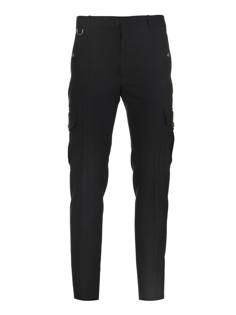 Alexander McQueen Man Cargo Pant In Black Japanese Wool Serge - Black