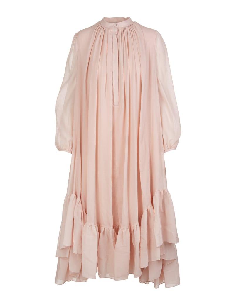 Alexander McQueen Powder Pink Silk And Cotton Faille Midi Dress - Rose beige