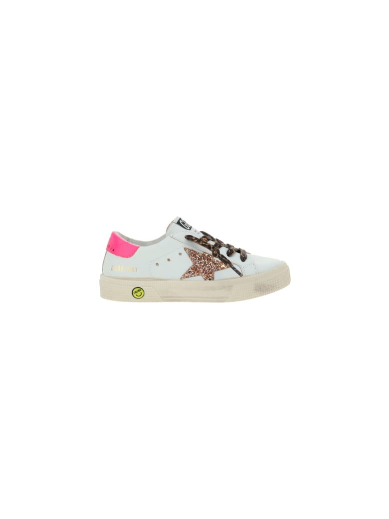 Golden Goose May Sneakers For Girl - White/peach