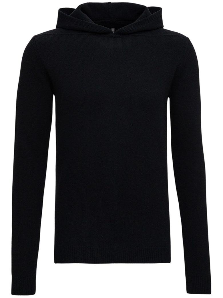 Rick Owens Wool And Cashmere Black Hoodie - Black