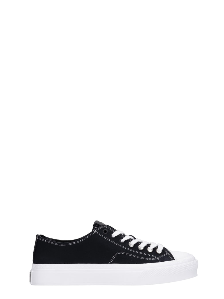 Givenchy City Low Sneakers In Black Canvas - black