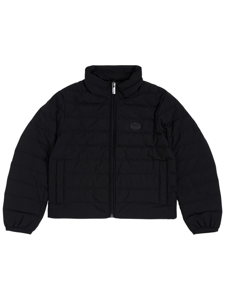 Emporio Armani Black Quilted Down Jacket With Logo - Black