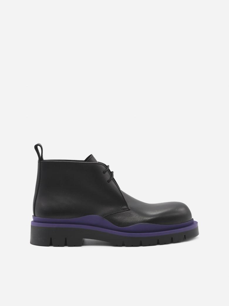 Bottega Veneta Tire Lace-up Leather Ankle Boots - Black, purple