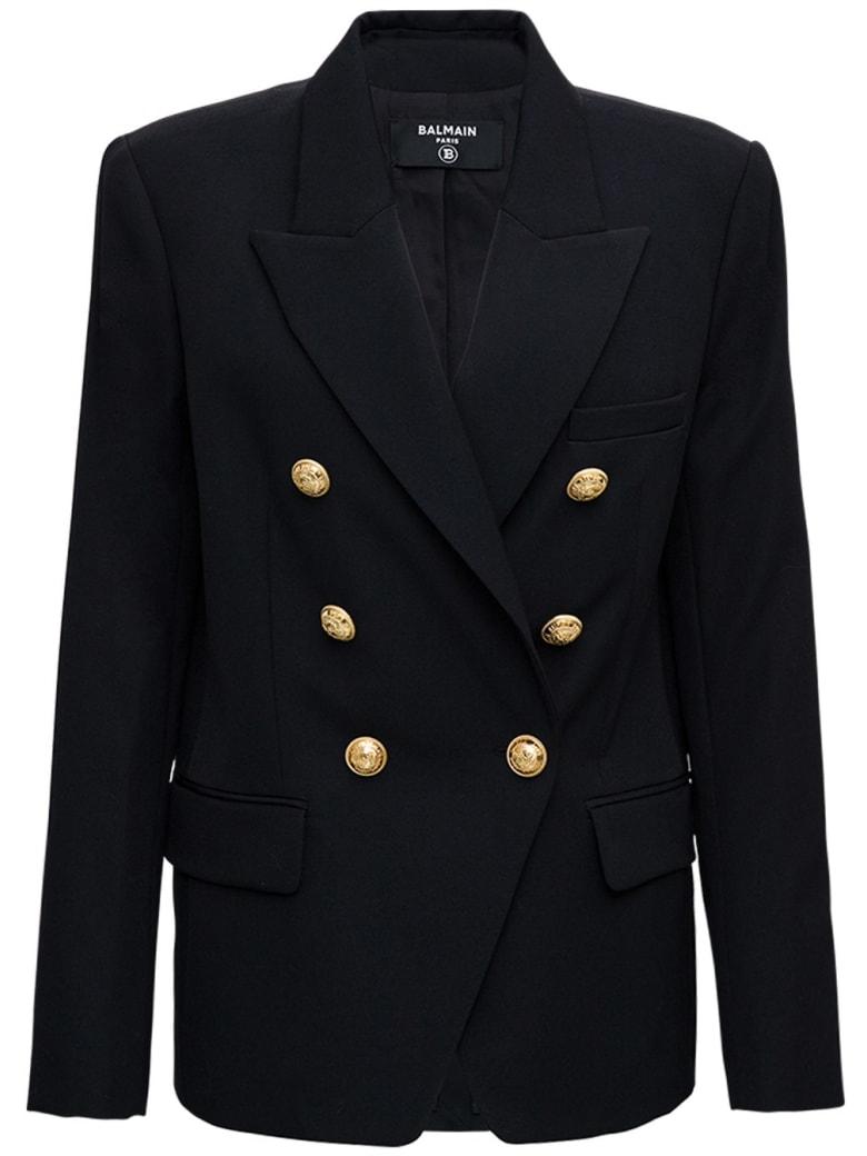 Balmain Double-breasted Blazer In Wool Blend - Black