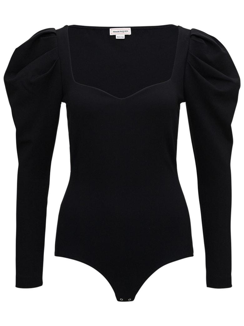 Alexander McQueen Black Sweetheart Bodysuit In Viscose Blend - Black