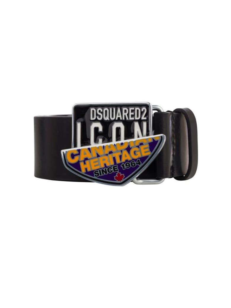 Dsquared2 Canadian Icon Black Leather Belt - Nero