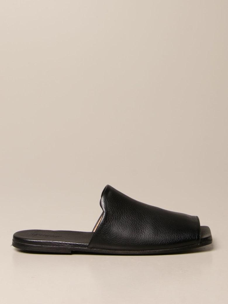 Marsell Flat Sandals Marsèll Spatula Mule In Volonata Leather - Black