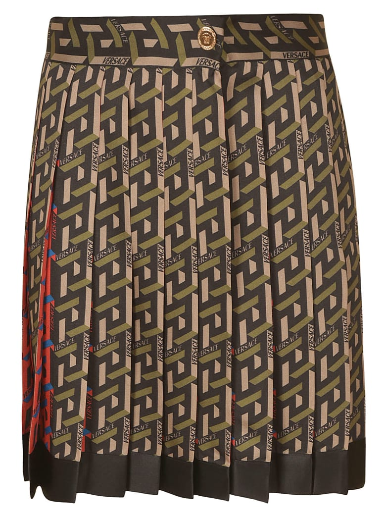 Versace Monogram Print Skirt - Black/Military Green
