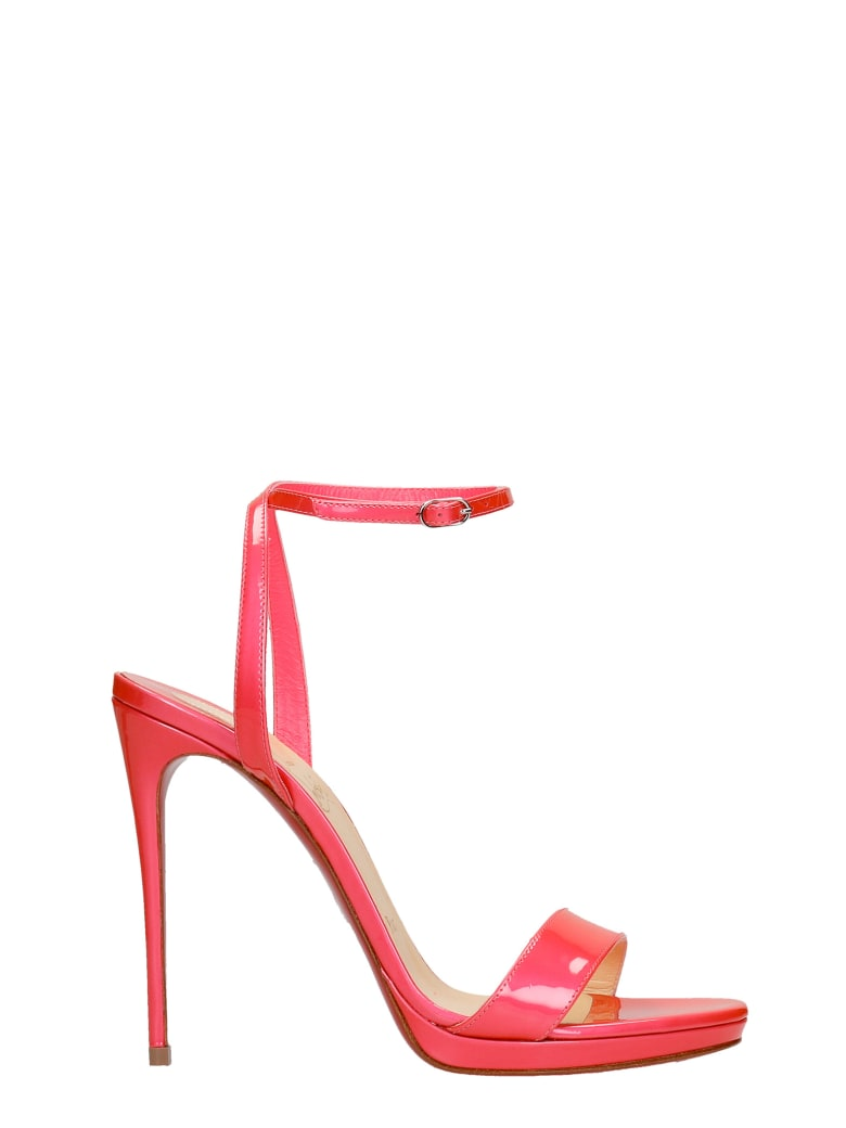 Christian Louboutin Loubi Queen 120 Sandals In Rose-pink Patent Leather - rose-pink