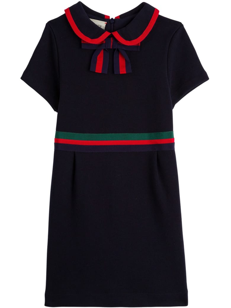 Gucci Cotton Jersey Dress With Web Detail - Blu