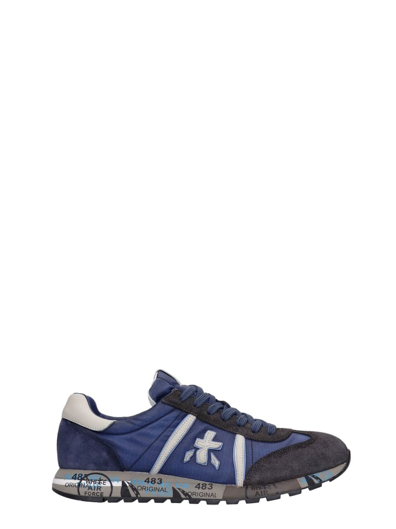 Premiata Lucy Sneakers In Blue Suede And Fabric - blue