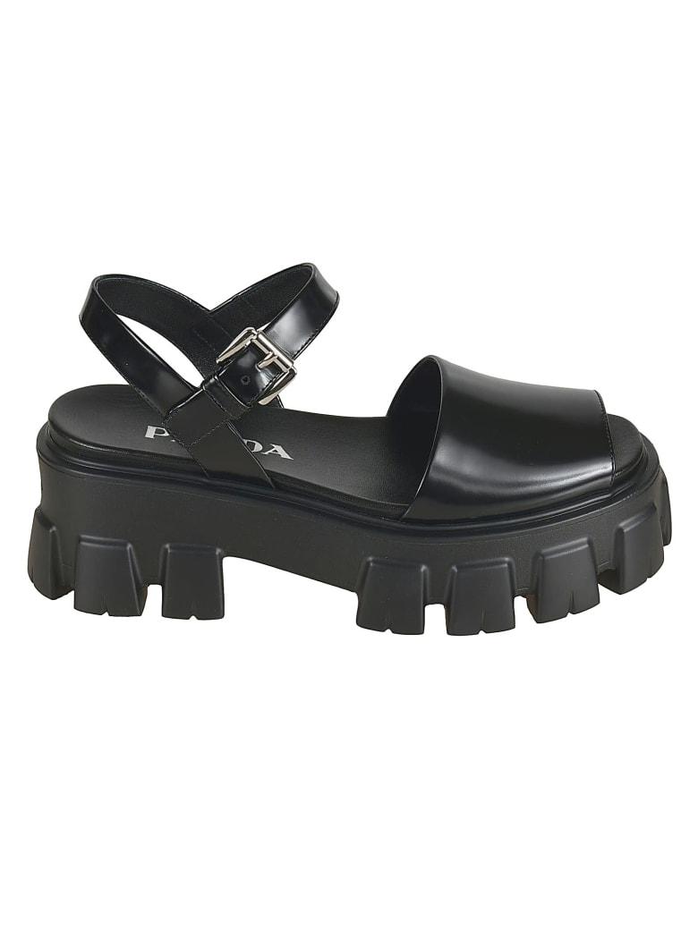 Prada Side Buckled Wedge Sandals - Black