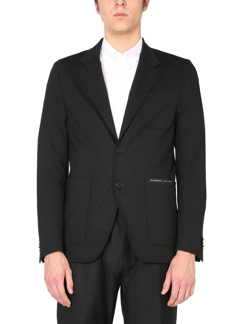 Givenchy Single-breasted Jacket With Logo - Nero