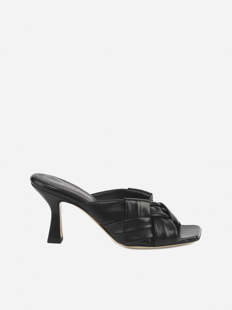 Aldo Castagna Flora Sandals In Leather With Woven Pattern - Black