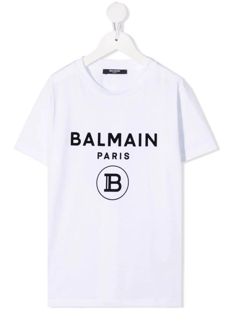 Balmain Kids White T-shirt With B Logo In Black Velvet