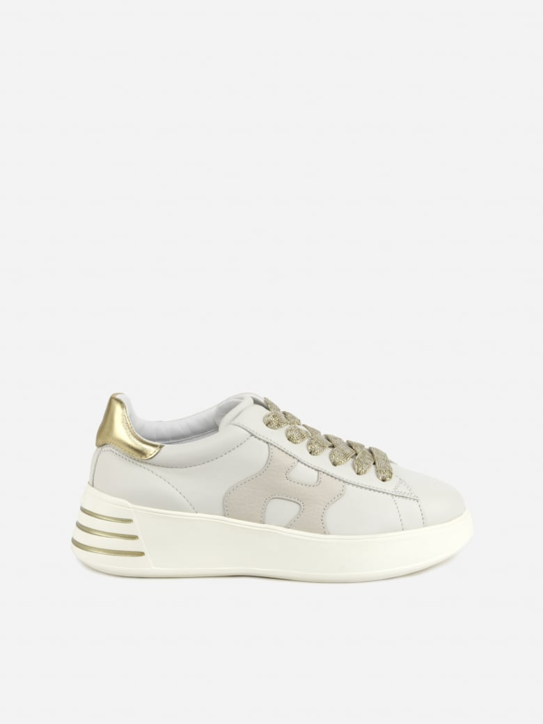 Hogan Rebel Leather Sneakers With Metallic Leather Inserts - White, gold