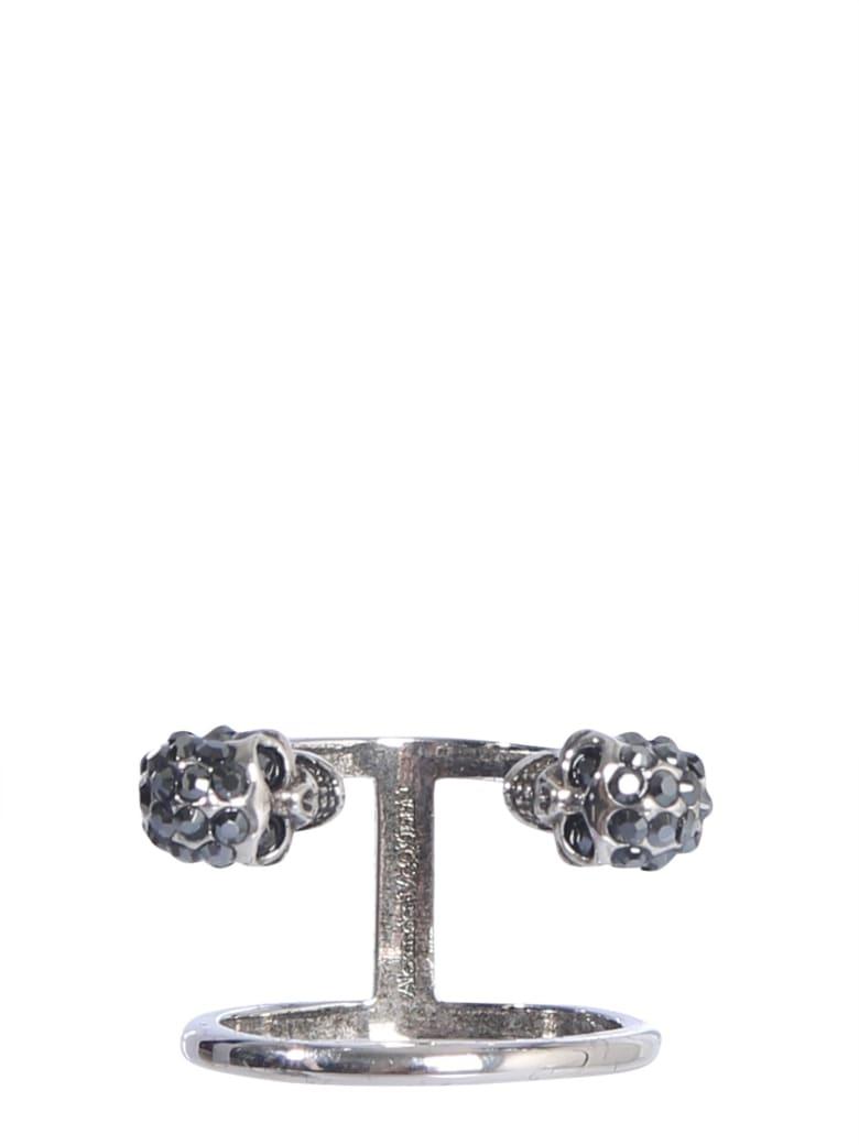 Alexander McQueen Double Twin Skull Ring - ARGENTO
