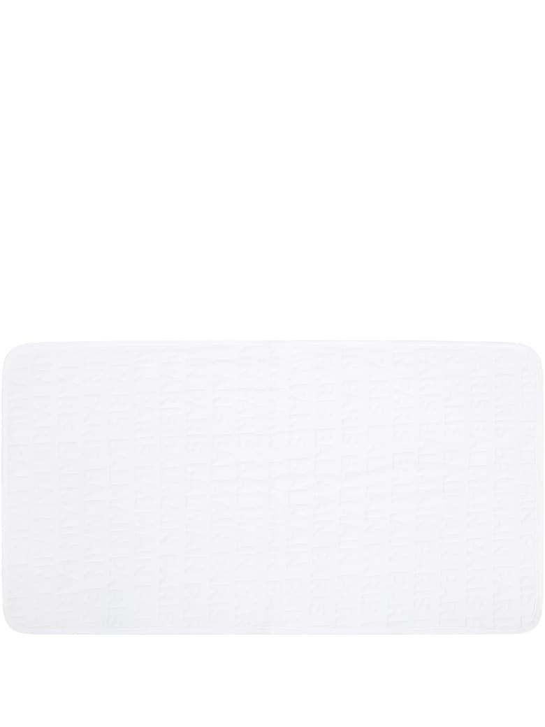 Balmain White Blanket For Babykids With Logo - White