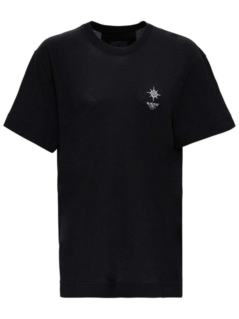 Givenchy Cotton T-shirt With Logo Print - Black