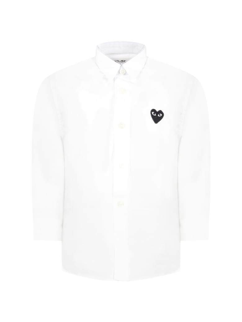 Comme des Garçons Play White Shirt For Kids With Black Heart - White