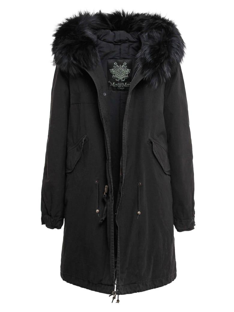 Mr & Mrs Italy Exclusive Fw20 Icon Parka: Black Jazzy Parka Raccoon Fur - BLACK