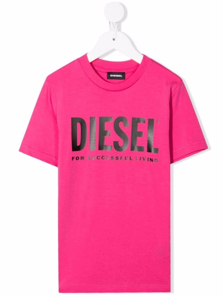 Diesel Kids Fluo Pink T-shirt With Black Oversize Logo