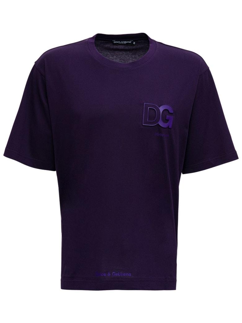 Dolce & Gabbana Purple Cotton T-shirt With Logo - Violet