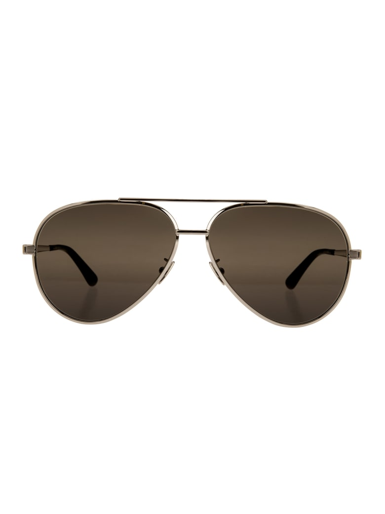 Saint Laurent Silver And Black Classic 11 Zero Sunglasses - Blk grey