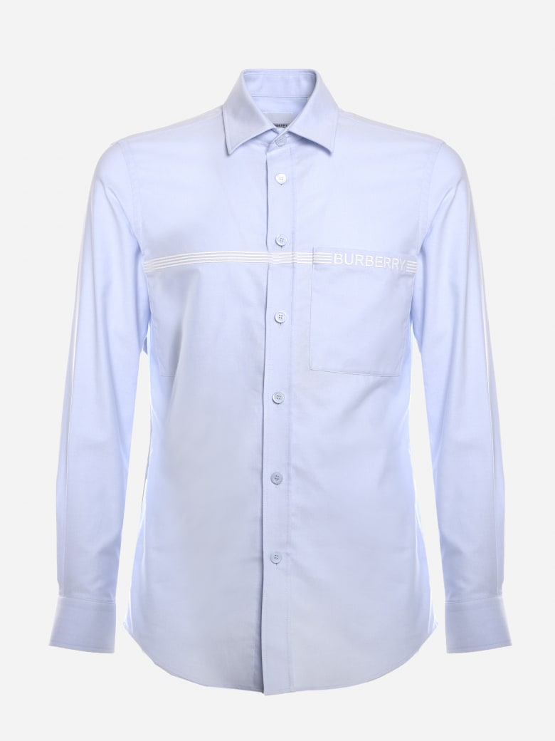 Burberry Cotton Shirt With Logo Detail - Light blue