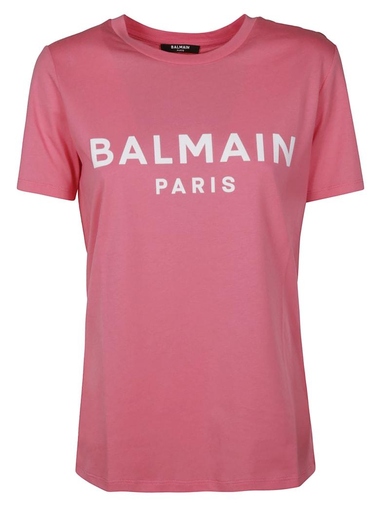 Balmain Button Embellished Logo T-shirt - Pink