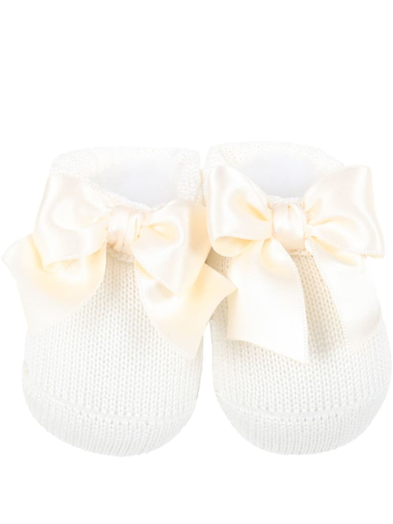 La Perla Ivory Suit For Babygirl With Bow - Ivory
