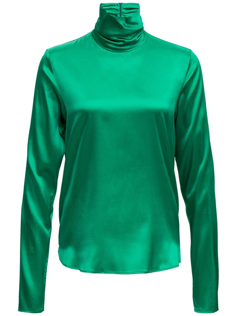 Tessa Turtleneck In Green Silk Blend - Green