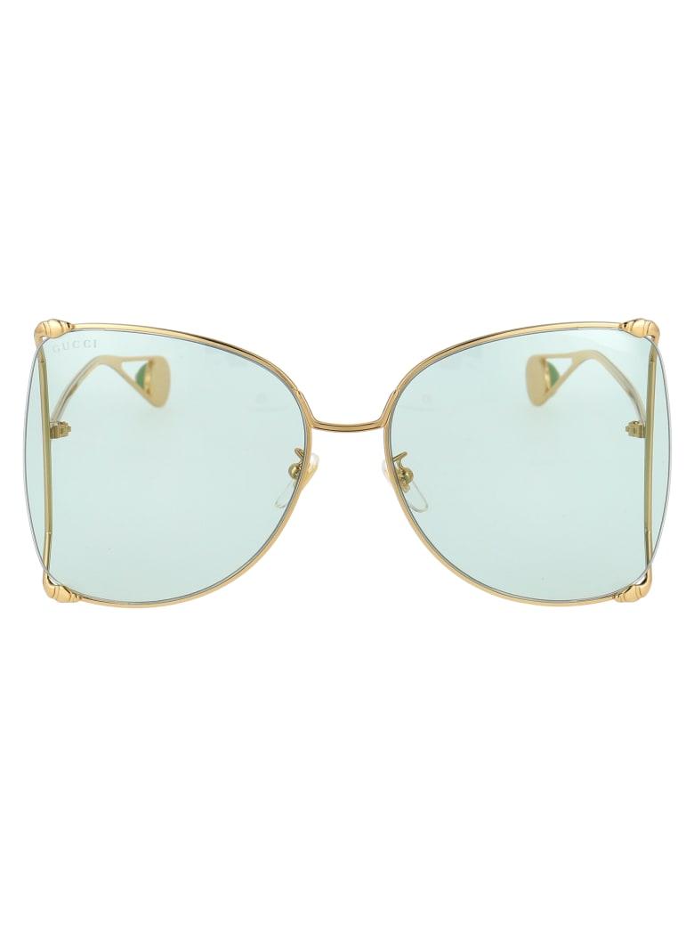 Gucci Gg0252s Sunglasses - 012 GOLD GOLD GREEN