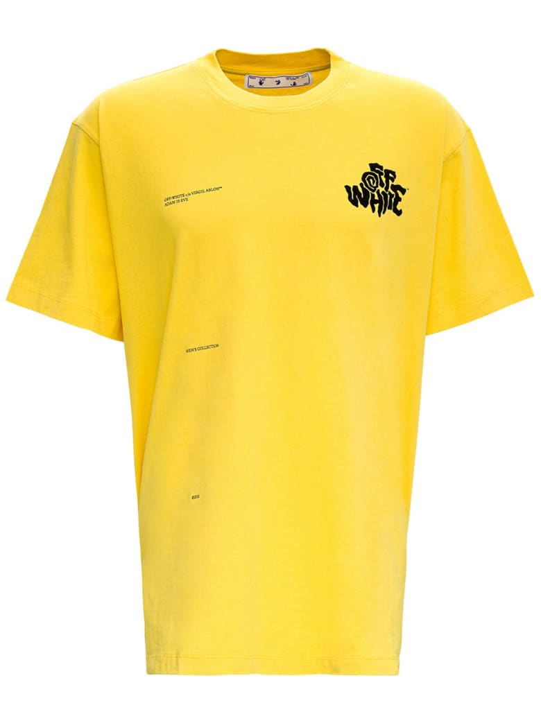 Off-White Off Blur Cotton T-shirt With Print - Yellow