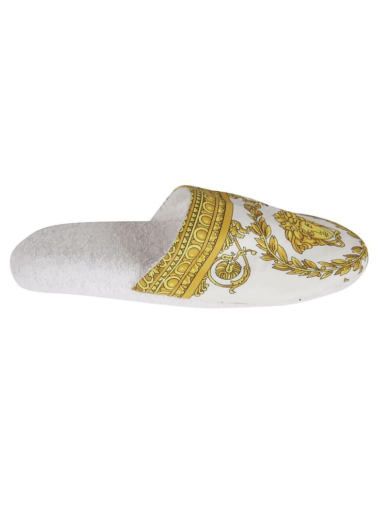 Versace Medusa Head Printed Slippers - White