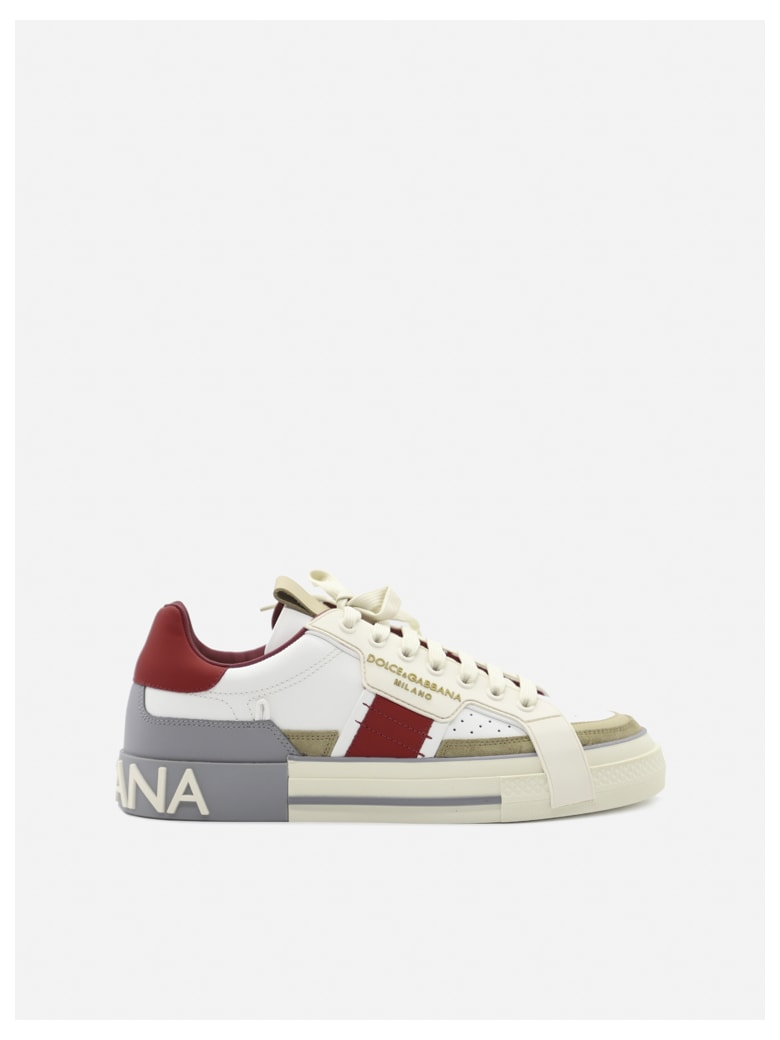 Dolce & Gabbana Custom 2.zero Sneakers In Leather With Suede Inserts - Beige