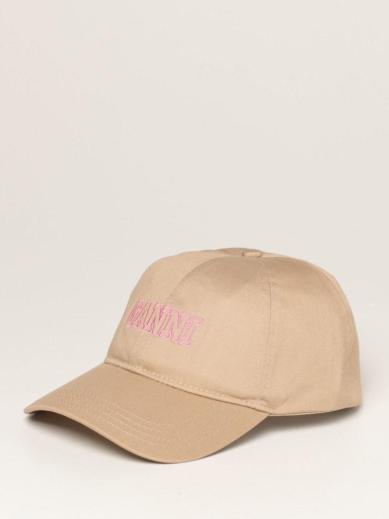 Ganni Hat Ganni Baseball Cap In Cotton With Logo - Ocher