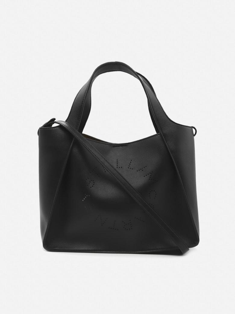 Stella McCartney Vegan Leather Tote Bag With Perforated Logo Detail - Black
