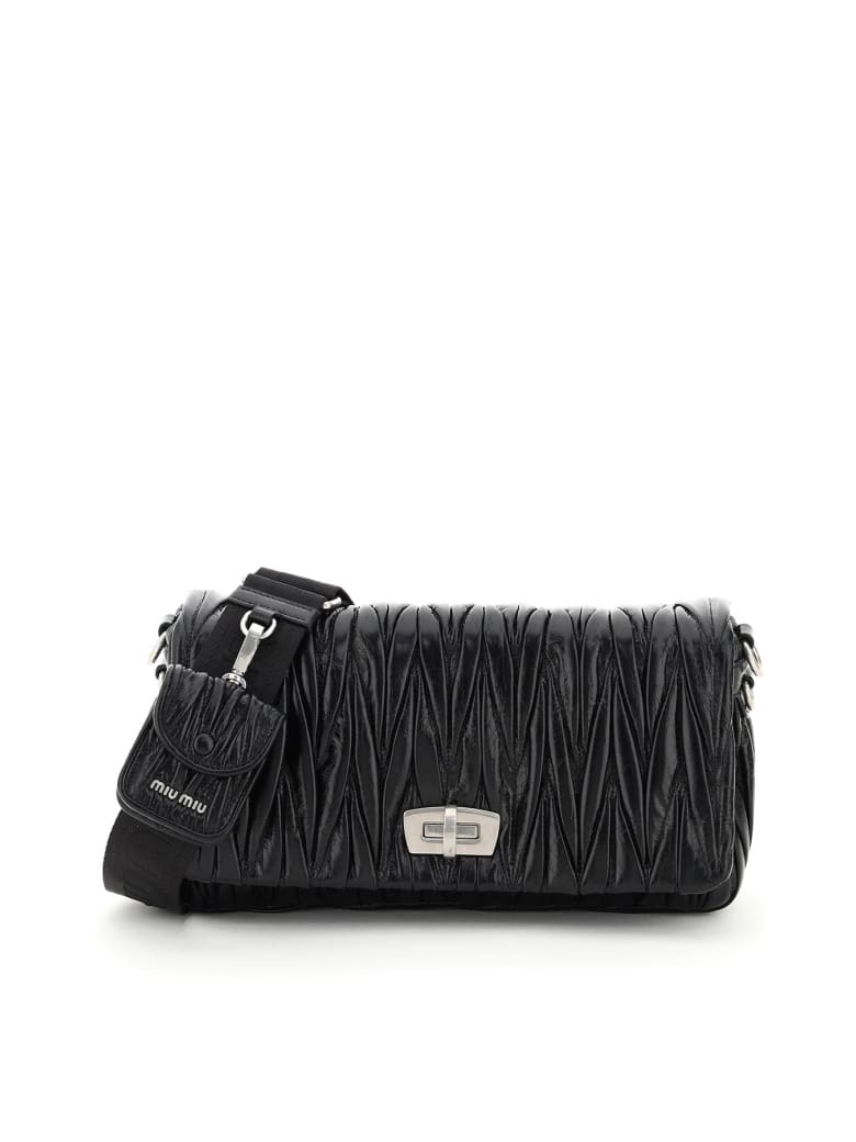 Miu Miu Quilted Shoulder Bag With Pouch - Nero