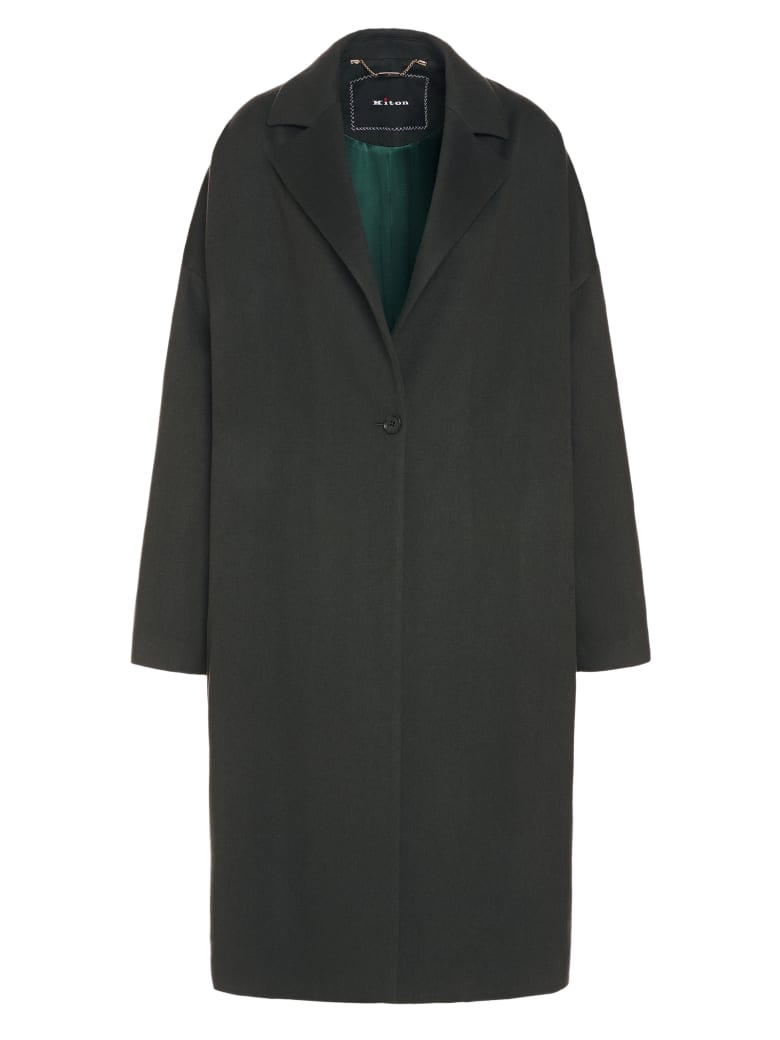Kiton Coat Cashmere - GREEN DARK