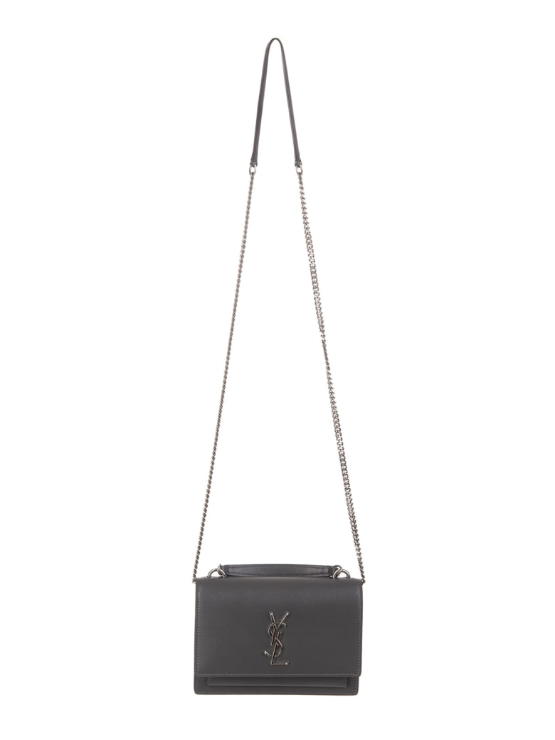 Saint Laurent Sunset Chain Wallet In Grey-silver Smooth Leather - Storm/storm
