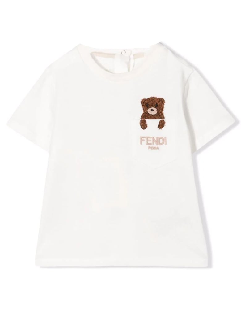 Fendi White Cotton T-shirt - Panna